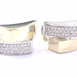 Fine Round Cut Diamond Two-Tone Gold Earrings .58C